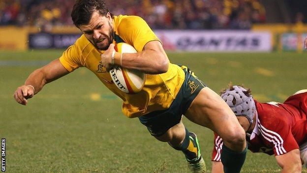 Adam Ashley-Cooper scores the decisive try in Melbourne