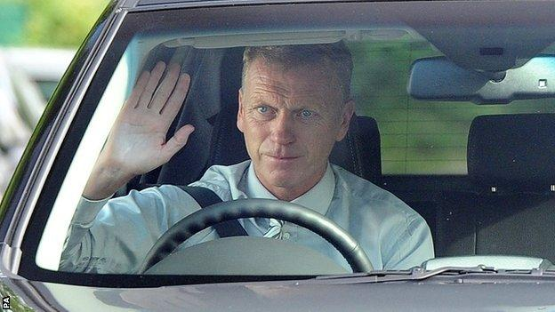 David Moyes arrives at Manchester United's training ground