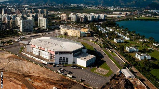 An aerial picture of Rio Olympic Arena that will hosts Gymnastics events and wheelchair basketball in the Paralympics 2016 on June 6, 2013 in Rio de Janeiro, Brazil