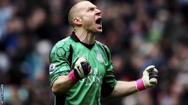 Aston Villa goalkeeper Brad Guzan