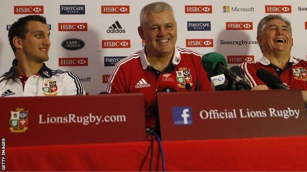 Warren Gatland (centre), Sam Warburton (left) and Andy Irvine