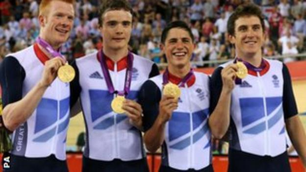 Left to right - Ed Clancy, Steven Burke, Peter Kennaugh and Geraint Thomas