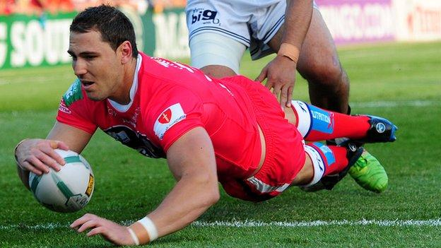 Wakefield's Dean Collis scores the opening try against Widnes