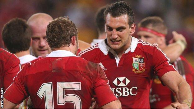 Lions Leigh Halfpenny and Sam Warburton