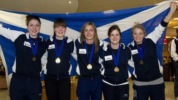 Scottish curlers Lauren Gray, Claire Hamilton, Eve Muirhead, Vicki Adams and Anna Sloan