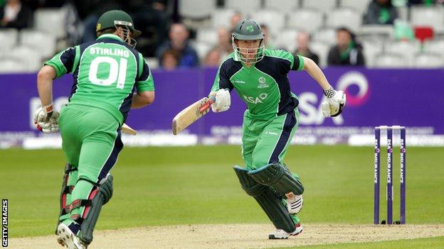 Ireland's cricket team playing against Australia in Belfast