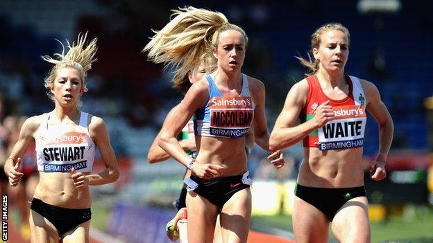 Scottish athletes Emily Stewart, Eilish McColgan and Lennie Waite