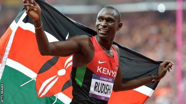 David Rudisha celebrates winning the 800m at London 2012 Olympics