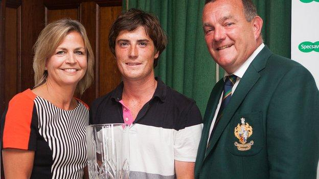 Dermot McElroy (centre) won the North of Ireland Strokeplay event at Galgorm Castle