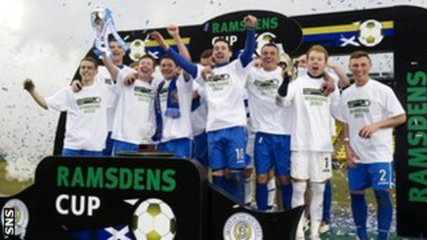 Queen of the South celebrate winning the Scottish Challenge Cup