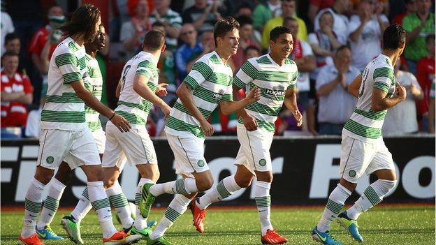 Celtic celebrate their opening goal against Cliftonville