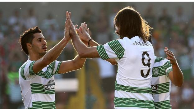 Georgios Samaras scored Celtic's second goal in the first leg of their Champions League second qualifying round tie