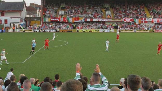 The scene at a packed Solitude as more than 5000 fans watch the Scottish champions play the Irish League winners
