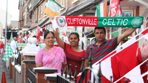 Some supporters displayed divided loyalties ahead of the Champions League tie
