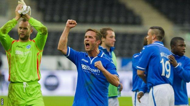St Johnstone celebrate at the final whistle