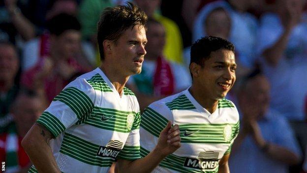Celtic players Mikael Lustig and Emilio Izaguirre