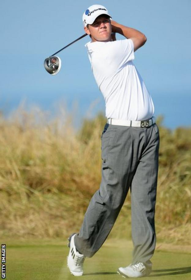 Welsh amateur Rhys Pugh tees off on the fifth hole during the second round of the Open Championship at Muirfield
