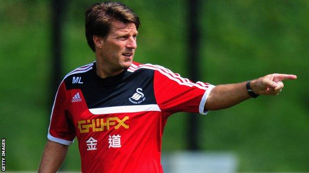 Michael Laudrup at a Swansea training session