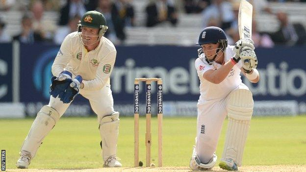 England opener Joe Root during his unbeaten century against Australia in the second Test at Lord's
