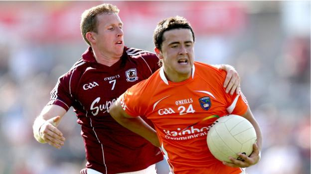 Gary Sice challenges Stefan Campbell as Galway overcome Armagh in the third round qualifier