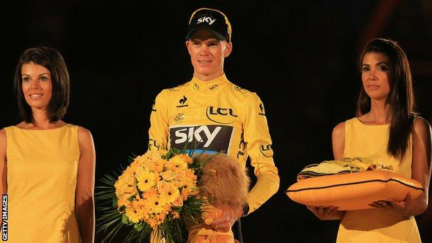 Chris Froome on the podium in Paris