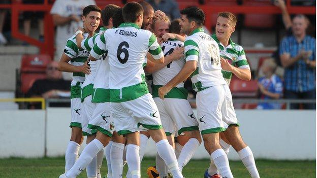 TNS celebrate Ryan Fraughan's opener at the Racecourse