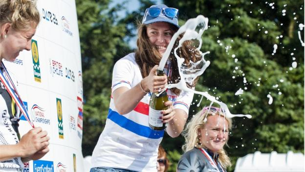 Bethany Crumpton celebrates in traditional style after winning the women's Under-23 race ahead of Rebecca Preece and Carla Haines