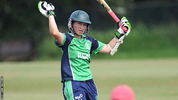Clare Shillington celebrates her century against Japan
