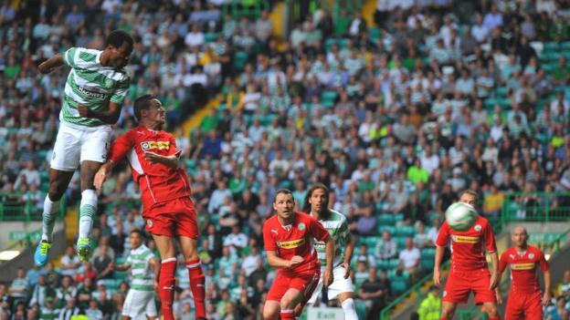 Efe Ambrose heads in the opener for Celtic after 16 minutes