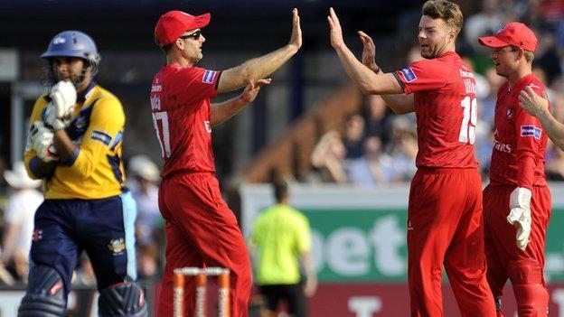 Aaron Lilley celebrates taking Adil Rashid's wicket at Old Trafford