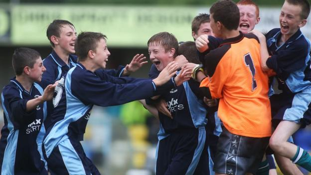 Inishowen celebrate their victory in the final of the Foyle Cup's Under-13 section