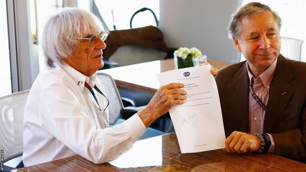 Bernie Ecclestone (left) and Jean Todt