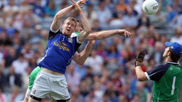 Paul Geraghty gets in behind defender Rory Dunne to score London's goal in the 19th minute - but Cavan ran out 1-17 to 1-8 winners