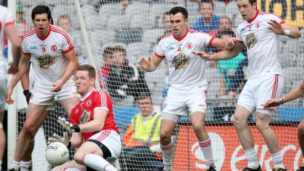 Red Hands goalkeeper Pascal McConnell saves a late Meath free