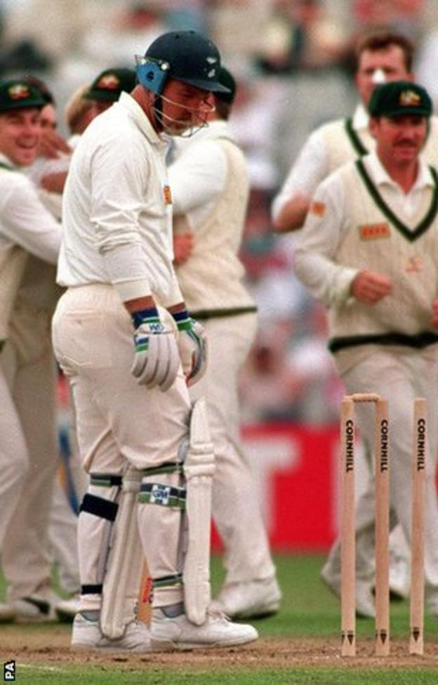 Mike Gatting looks round after being bowled by Shane Warne in 1993