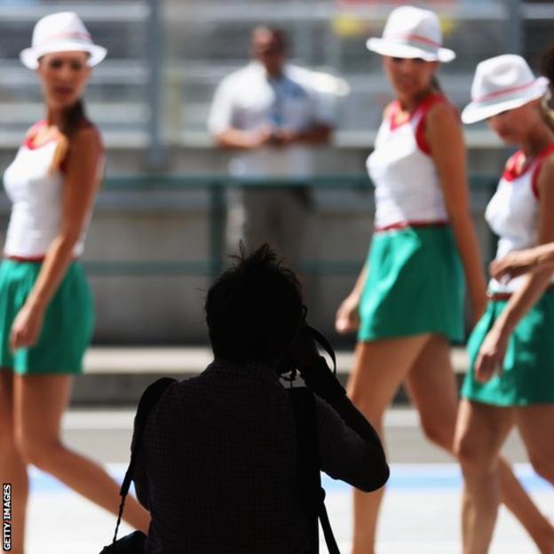 Grid girls at the Grand Prix