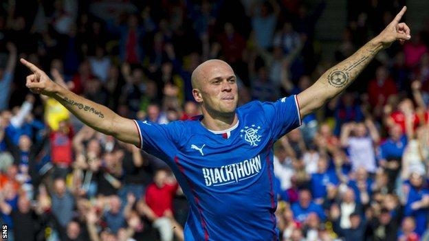 Nicky Law celebrates scoring for Rangers