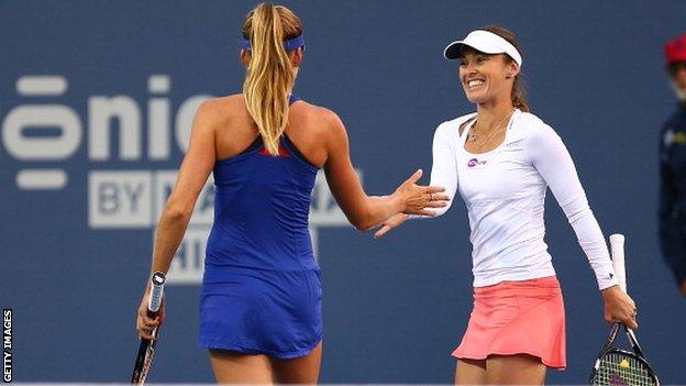 Daniela Hantuchova and Martina Hingis (left)