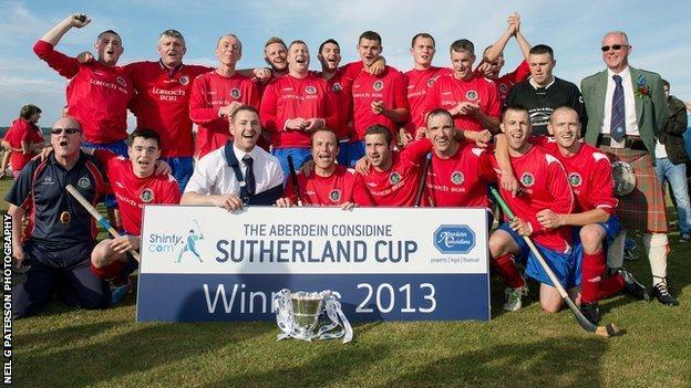 Ballachulish celebrate winning the Sutherland Cup