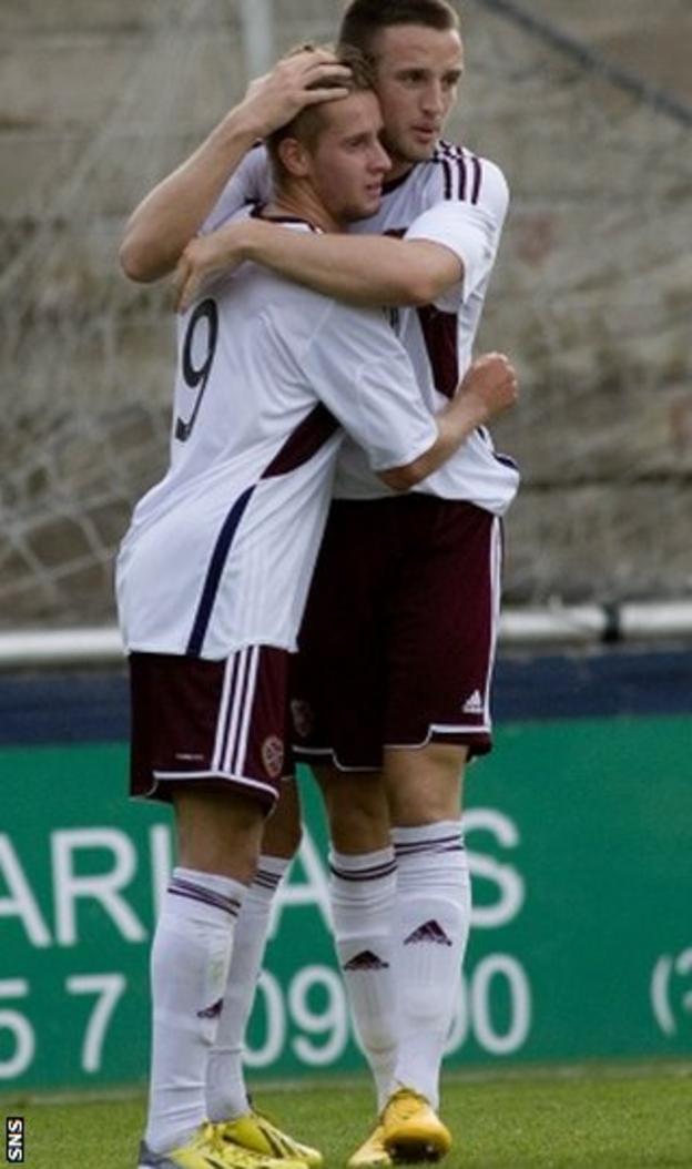 Billy King (left) celebrates scoring for Hearts