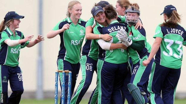 Ireland celebrate after beating the Netherlands on Thursday