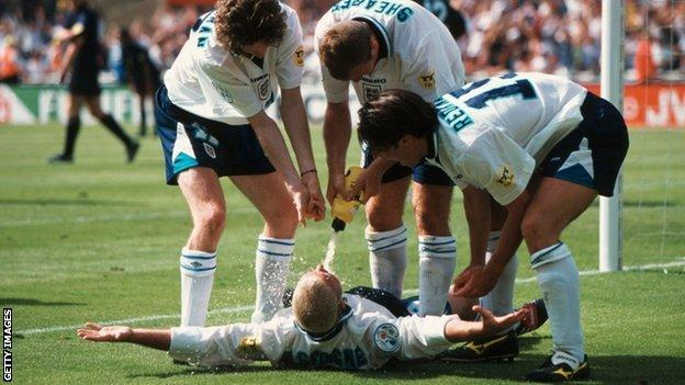 Paul Gascoigne's famous 'dentist's chair' celebration after scoring against Scotland in Euro 96.