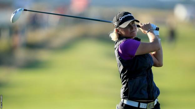 Wales' Becky Morgan in action during the second round of the Women's British Open at St Andrews. But Morgan along with Amy Boulden and Sahra Hassan failed to make the halfway cut.