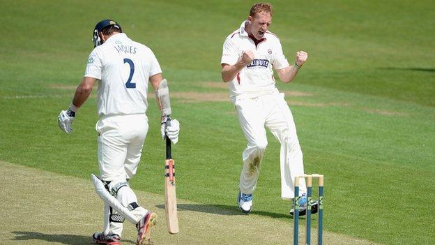 Steve Kirby celebrates taking a wicket