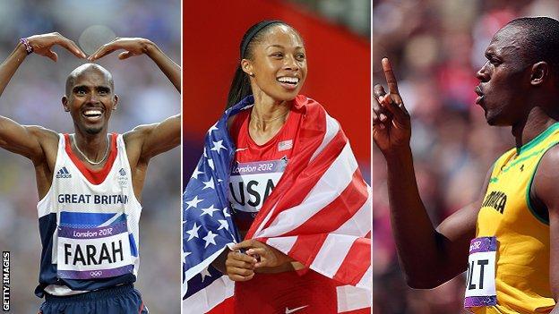 Mo Farah, Allyson Felix and Usain Bolt