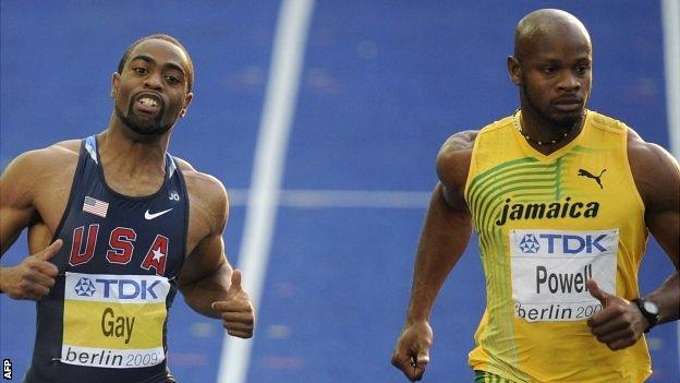 """Photo dated August 16, 2009 shows US Tyson Gay (L) and Jamaica""""s Asafa Powell (R) in the men""""s 100m semi-final race of the 2009 IAAF Athletics World Championships in Berlin"""