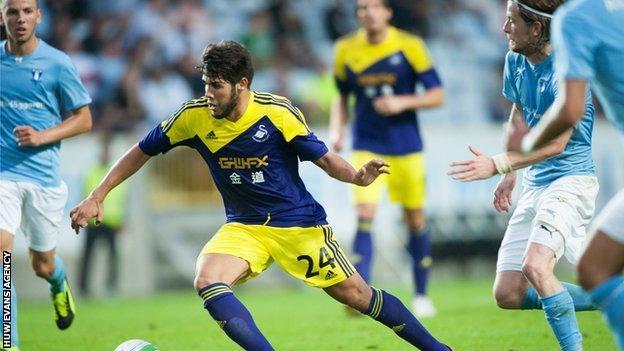 Swansea's Alejandro Pozuelo takes on the Malmo defence