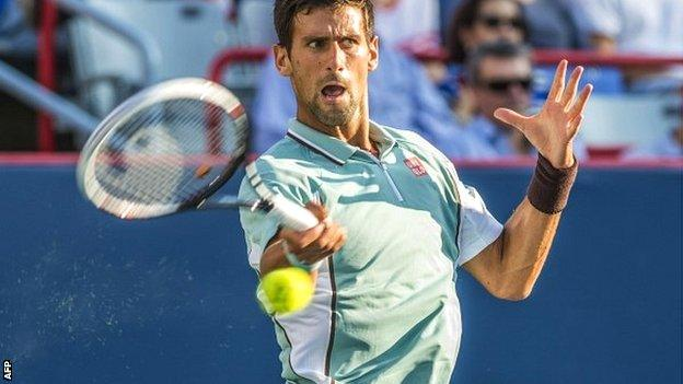 Novak Djokovic celebrates victory over Richard Gasquet