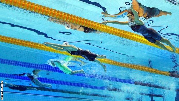 Action from the swimming events at last year's London Paralympics