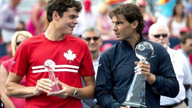 Milos Raonic and Rafael Nadal